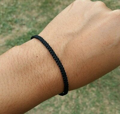 Thin 0.3 cm Thai Buddhist Braided Cotton Friendship Wristband Bracelet Handmade