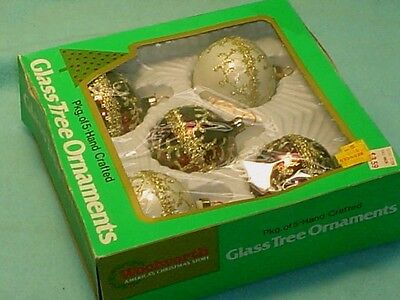 Box Of Vintage Woolworth Hand Crafted Glass Christmas Tree Ornaments