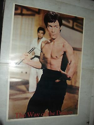 Old Vintage Bruce Lee Poster  Way Of The Dragon 1973 Warner Bros Studio one 1260