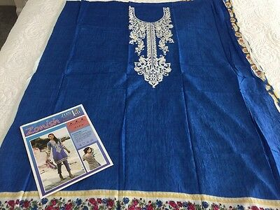 Pakistani designer Indian  Lawn Embrioded UNSTITCHED Kurta KAMEEZ Only Shirt