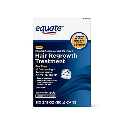 Equate Hair Regrowth for Men's Minoxidil Foam, 6-Month Supply, 2.11 fl oz, 6 ct
