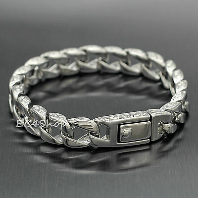 """Men's Stainless Steel Bracelet Cuban Carved Curb Link Chain Silver Tone 8.5"""""""