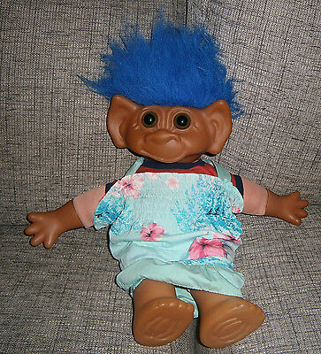 Vintage Troll Doll Uneeda Very Large 22 Inches Rare Blue Hair