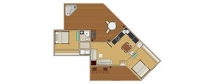695sqft 2/beds-angled shaped Tiny House Floor Plan with Full Dimensions