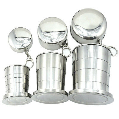 Stainless Steel Portable Folding Outdoor Travel Cup Mug Keychain Camping Hiking