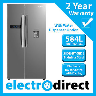 Brand New 584 Litre Side-by-Side Stainless Steel Refrigerator Fridge Freezer