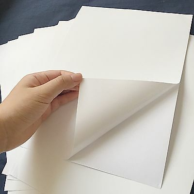 10 x A4 Matt White Sticker Paper, Label, Adhesive Paper with white backing paper