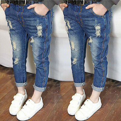 Kindstraum Summer Ripped Jeans for Girls Solid Children Jeans