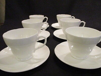 Vintage white china tea cups & saucers& plates x 6 in lovely condition