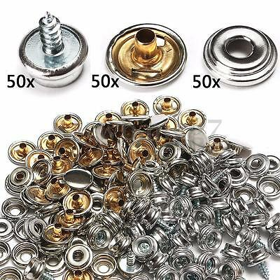 150pcs Stainless Fabric Snap Steel Marine Canvas Cover Button & Socket Kit US