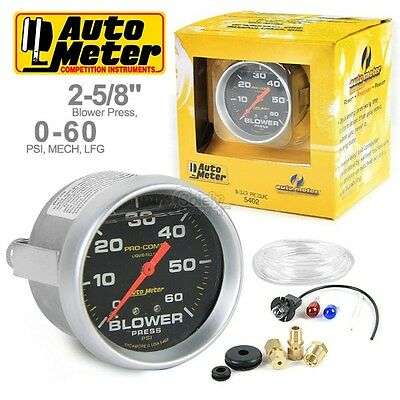 "AUTOMETER PRO COMP 5402 2-5/8"" Mechanical Blower Pressure Gauge Liquid 0-60 Psi"