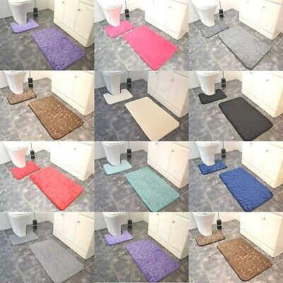 Soft Memory Foam Bath Mats Large Washable Luxury 2 Piece Set Toilet Rugs Cheap