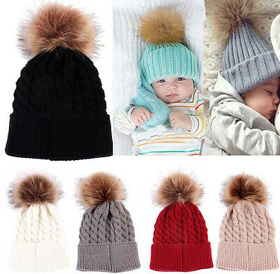 Newborn Kids Winter Knitted Hat Pompom Ball Warmer Wool Fur Baby Boys Girls Caps