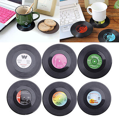 6PCS Coaster Round Vinyl Cup Drinks Holder Mat Groovy Record Placemat Tableware