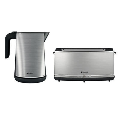 Hotpoint Stainless Steel 3kW 1.7L Kettle & Extra Wide Long Slot Digital Toaster