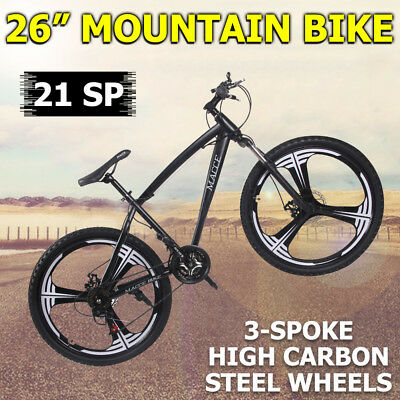 New 3-Spoke Mountain Bike 26 inch MTB 21-Sp Disc Brake Bicycle Black RRP$450 OZ