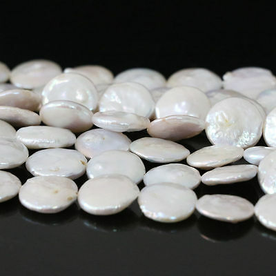 Fashion 12~13mm natural white cultured freshwater coin pearl Loose bead 15""