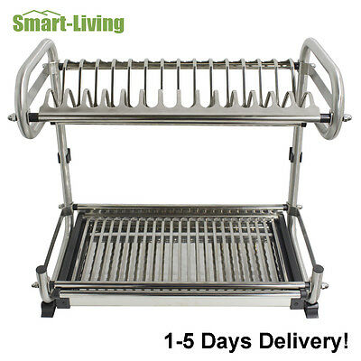 Stainless Steel 2 Tier Wall/Floor Mounted Kitchen Dish Rack Bowl Storage Holder