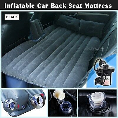 Heavy Duty Inflatable Black Car Back Seat Mattress Travel Camp Sleeping Air Bed