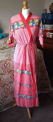Vintage 1970's Ladies Housecoat Red Floral And Striped Fabric Size 12-14