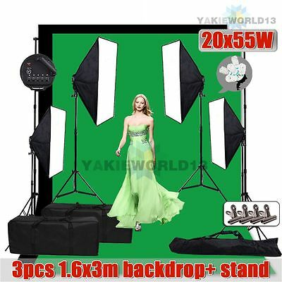 5500W Photography Studio Softbox Continuous Lighting 3pcs Backdrop Stand Kit