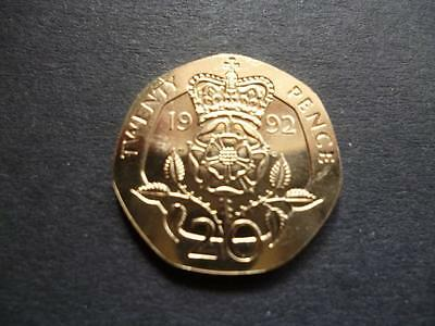 1992 Brilliant Uncirculated Twenty Pence Piece. 1992 20P Coin Uncirculated.