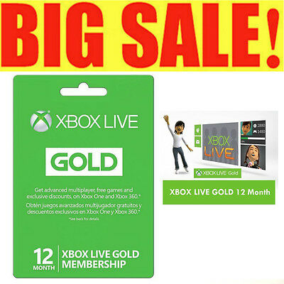 2017 Microsoft Xbox 12 Month Live Gold Membership Works on Xbox 360 / XBOX ONE