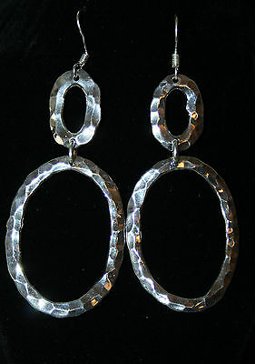 Mexican 999 Silver Plated Hammered Handmade Round Oval Earrings Contemporary