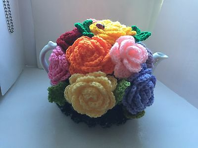 Hand lovely knitted rosrs tea cosy flowers garden 6 cup