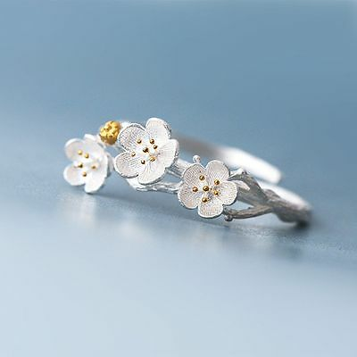 Silver Plated Rings Adjustable Rings Opening Finger Plum Blossom Branch
