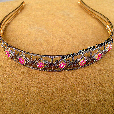 Victorian Vintage 8.85ct Rose Cut Diamond Sterling Silver Ruby Jewelry Hair Band