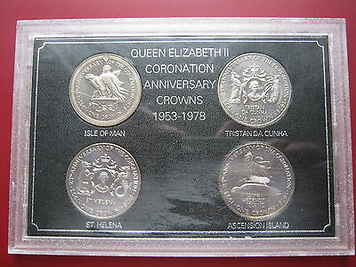 St Helena Tristan da Cunha Ascension Man 1978 4x Crown Set Silver Anniversary