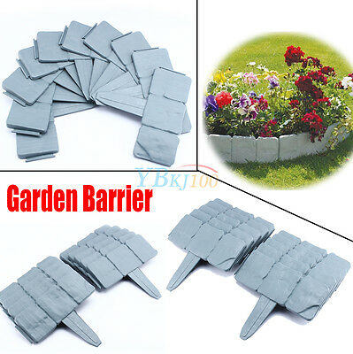 Home decorate Garden Cobbled Stone Effect Plastic Lawn Palisade Edge Patio Fence