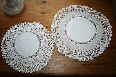 Two Antique White Cotton Doilies/Mats Hand Sewn/Crochet Vintage Shabby Chic Old