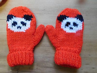 Hand Knitted Girls Cute Panda Mittens Age 2-4 Years