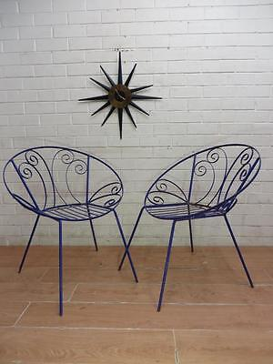 PAIR VINTAGE RETRO MID-CENTURY 1960's OUTDOOR 'Saucer Chairs'