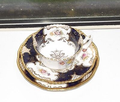 Victorian Coalport China Batwing  Cobalt Blue  Trio Cup, Saucer, Plate