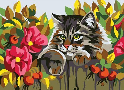 "Collection D'Art Printed Tapestry Canvas ""Cat behind a fence"""