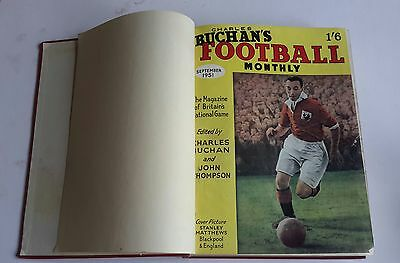 CHARLES BUCHAN FOOTBALL MONTHLY SEPT 1951 TO AUG 1952 BOUND VOLJME No 1 signed