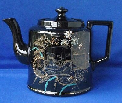 Vintage Victorian Hand Painted Bead Raised Decoration Black Teapot Rd.No.142369