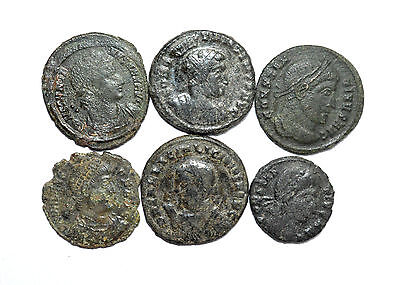 Superb Lot Of 6 Ancient Roman Bronze Coins For Cleaning - Premium Quality ! Z218