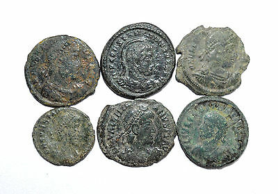 Scarce Lot Of 6 Ancient Roman Bronze Coins For Cleaning - Premium Quality ! Z219
