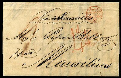 1860 Liverpool to G.P.O MAURITIUS Double Circle wrapper