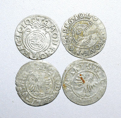 Scarce Lot Of 4 Medieval Silver Hammered Coins - Great Details - Z226