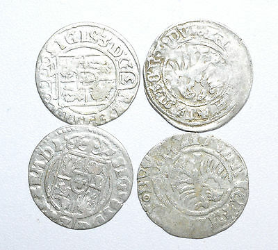 Stunning Lot Of 4 Medieval Silver Hammered Coins - Great Details - Z228