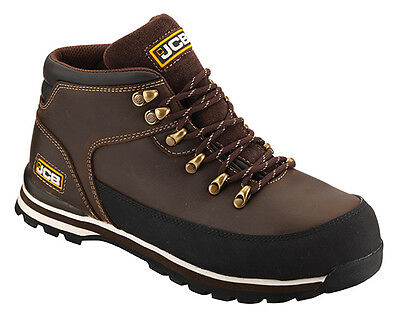 JCB 3CX Safety Waterproof Work Boots Brown (Size 10) Mens Steel Toe Cap