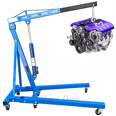 Professional 1 Ton 1T Folding Hydraulic Engine Crane Hoist Lift Wheel Jack Stand