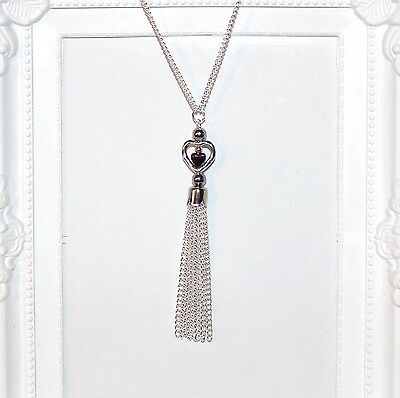 Vintage/flapper/Gatsby/1920's long silver necklace with heart beads & tassel