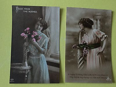 2 Birthday Glamour Postcards of PRETTY LADIES  With Flowers