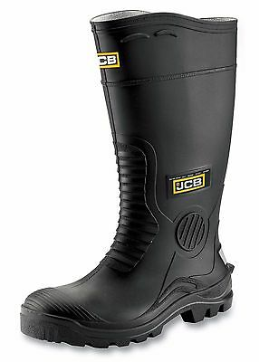 JCB HYDROMASTER Safety Wellington Work Boots Black (Size 10) Waterproof Wellies